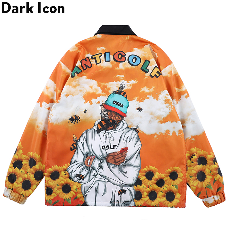 Dark Icon Antigolf Cargo Jacket Men Turn-down Collar Full Printed Windbreak Men's Jacket Rap Music Jackets Outwear Clothes