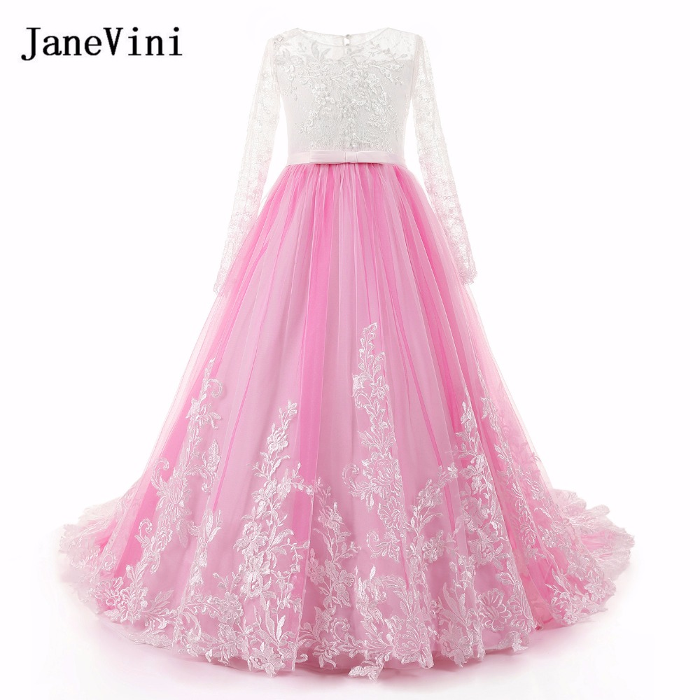 JaneVini Pink Tulle   Flower     Girl     Dresses   with Long Sleeves A Line Lace Appliques Beaded Sweep Train Elegant Princess   Girls     Dress
