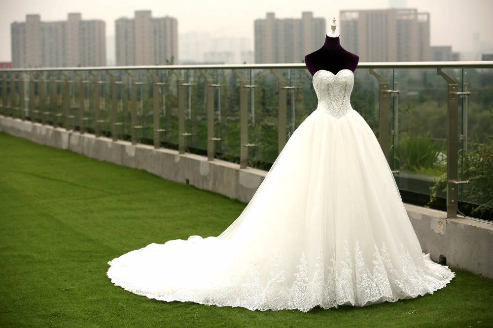 Wedding Gowns With Bling: Long Ball Gown Wedding Dresses With Cathedral Train Bling