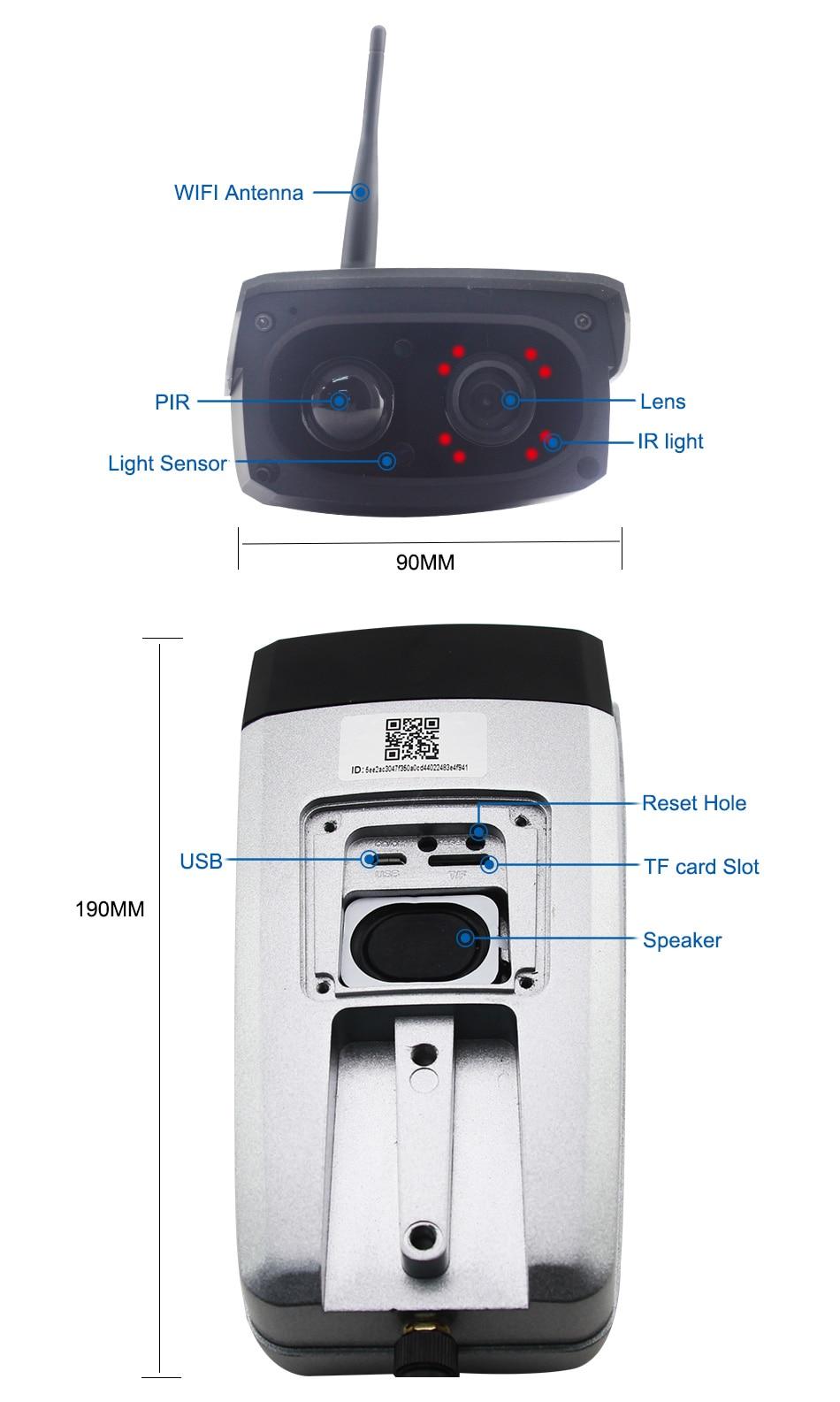 Smar გარე წყალგაუმტარი დაცვა მზის კამერა 1080P Wifi უსადენო IP კამერა მობილური ტელეფონი დისტანციური მართვის ჩამონტაჟებული 7650mA აკუმულატორი (12)