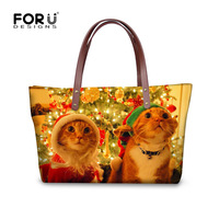 Forudesigns sombrero Gatos perro mujeres mano Bolsas Santa Claus animal Niñas Tote mejor regalos casual Bolsos de hombro playa tienda al por mayor