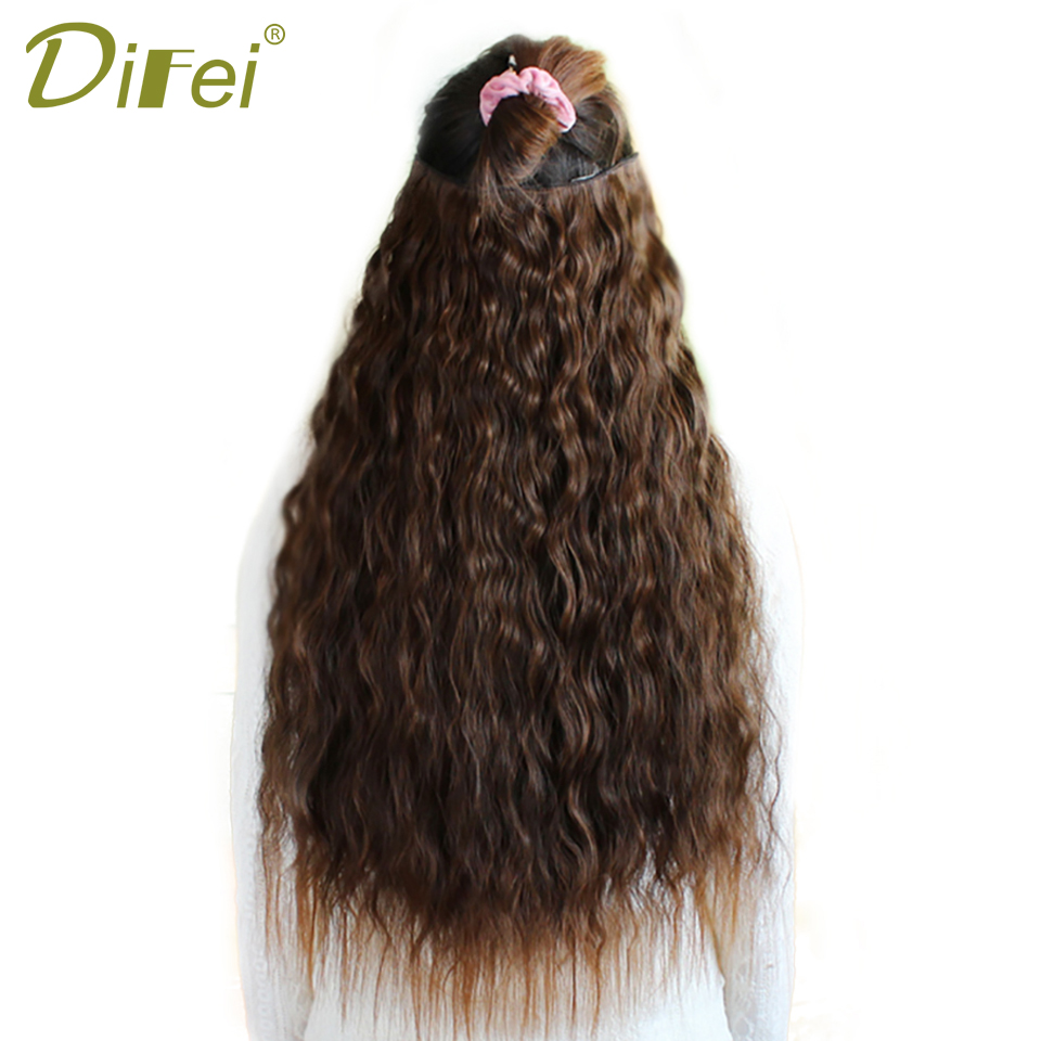 DIFEI Long Curly Natural Hair Extentions Black Brown Synthetic Clip In Hairpiece Extensions