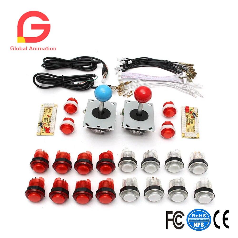 Arcade DIY Parts Kit USB Encoder 2pcs Joystick + 20pcs LED Transparent Plastic Push Button with LED Encoder Boards For Arcade