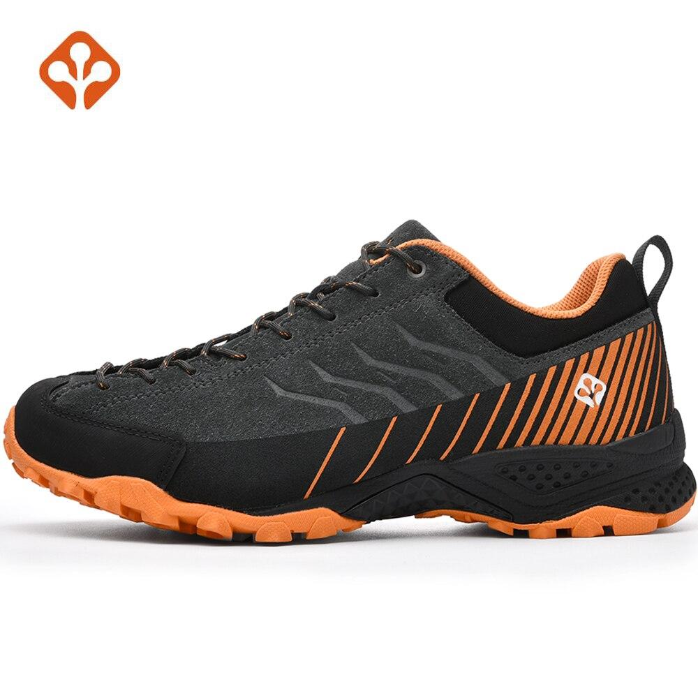 SALAMAN Men's Fur Leather Outdoor Hiking Camping Shoes Sneakers For Men Tourism Tracking Trekking Climbing Mountain Shoes Man