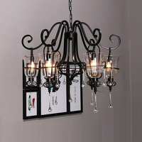 Retro Wrought Iron Crystal Chandelier Iron Candle 3 5 6 Weapons Retro Crystal Spider Black LED