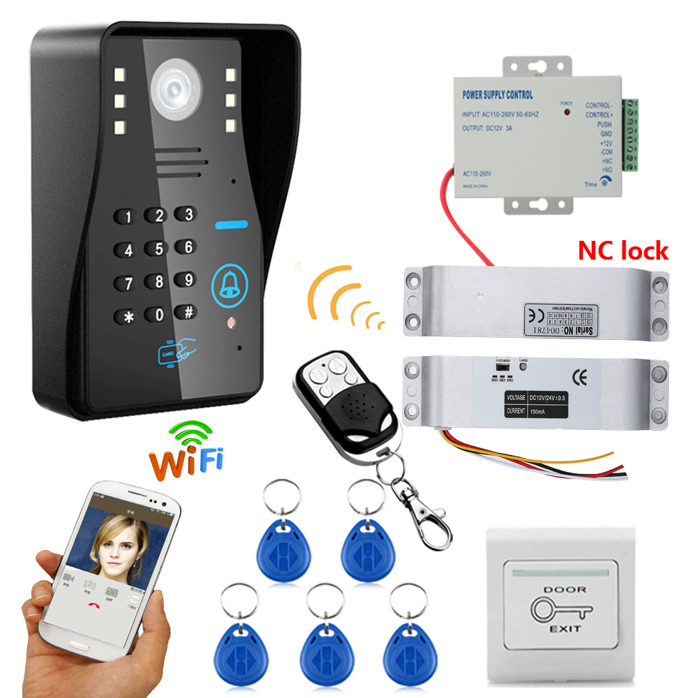 HD 720P Wireless WIFI RFID Password Video Door Phone Doorbell Intercom System Night Vision + Electric Drop Bolt Lock SYWIFI012RD