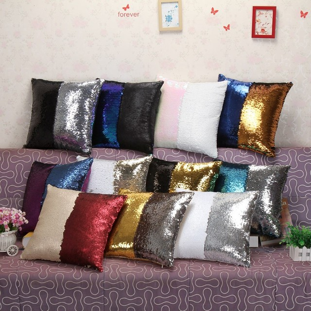 Reversible Sequins Cushion Mermaid Sequin Pillow Magical Color Changing  Cushion Home Decor Throw Pillow Sofa Cushions