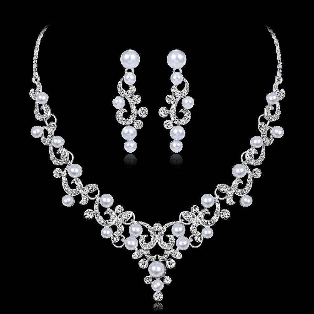 Wedding Jewelry Sets Fashion Crystal Bridal Jewelry Set For Women Choker Necklace Earring Imitation Pearl Wedding Decoration