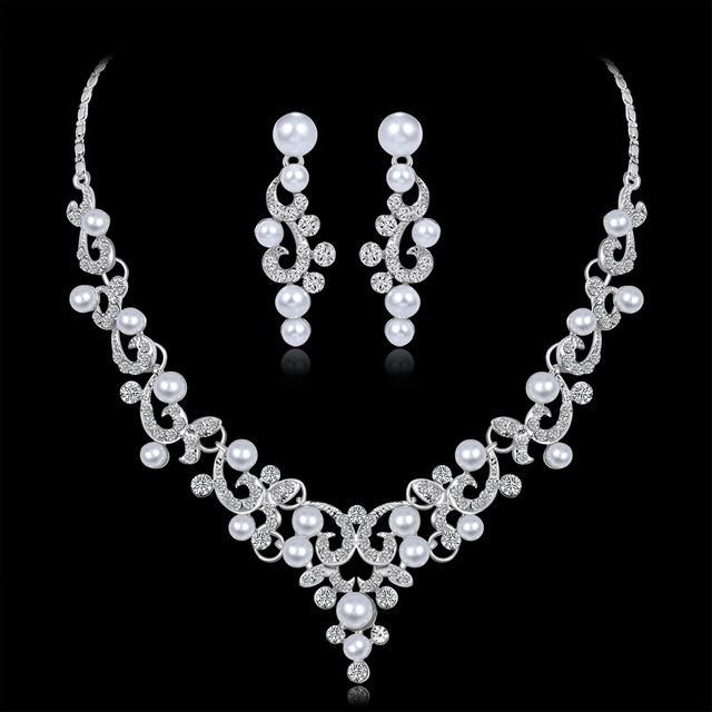 ee7b71765b Wedding Jewelry Sets Fashion Crystal Bridal Jewelry Set For Women Choker  Necklace Earring Imitation Pearl Wedding Decoration