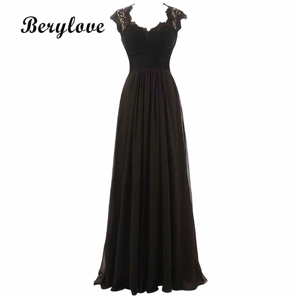 Black Lace Formal Evening Dresses 2018 Chiffon Cheap Prom Dresses Formal  Dress Women Partywear Gowns For f81f8aa3f445