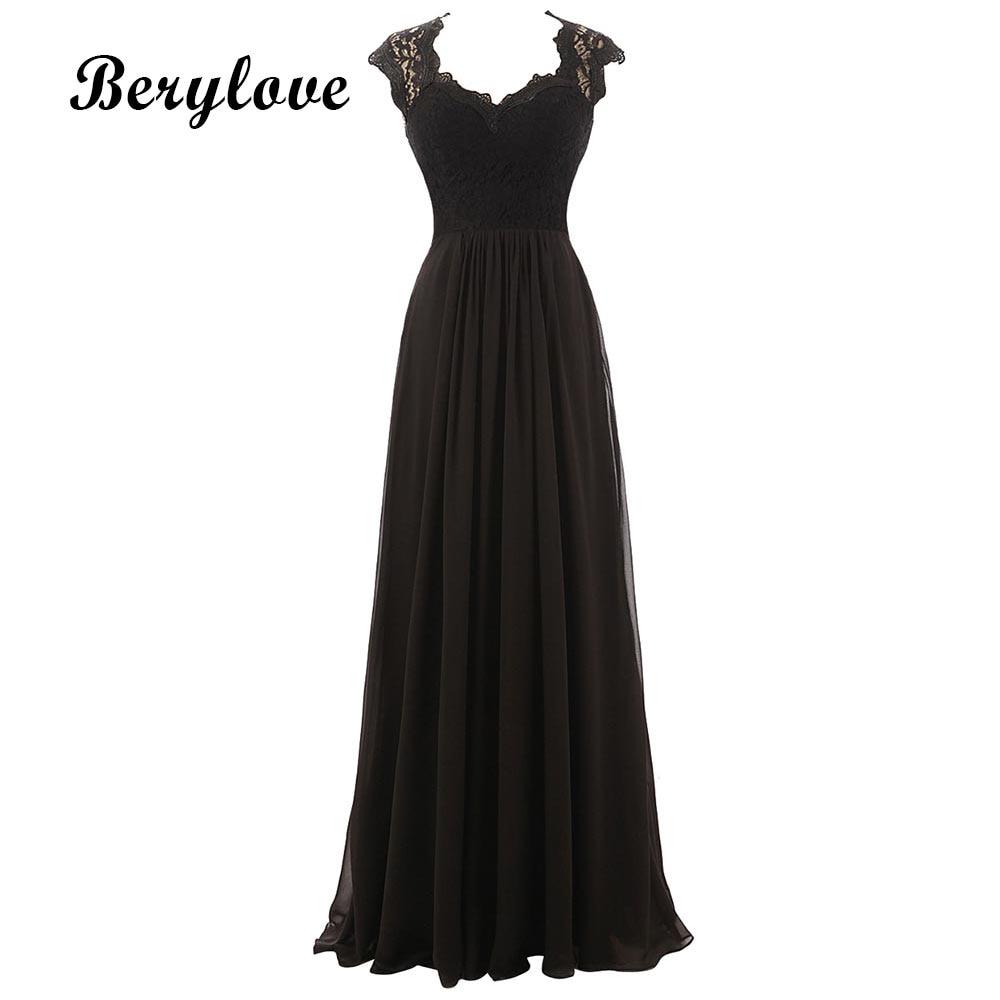 BeryLove Black Lace Evening Dresses 2018 Cheap Prom Dresses Women ...