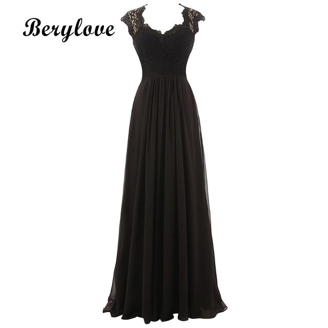 Berylove Black Lace Evening Dresses 2018 Cheap Prom Dresses Women