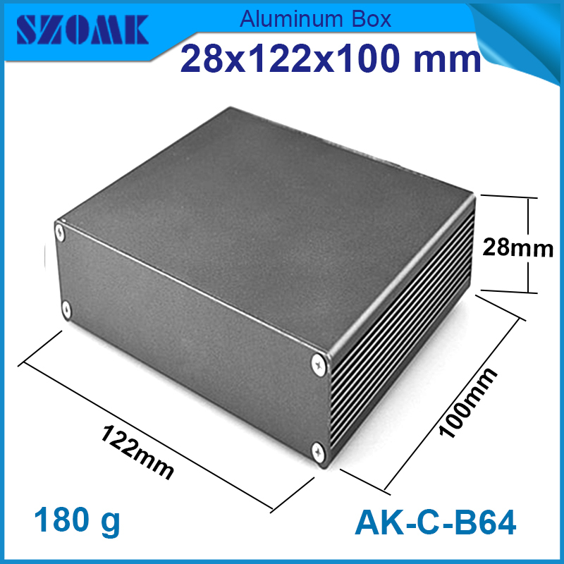 1piece aluminum enclosures 28x122x100 mm in black color metal good quality instrument cabinet