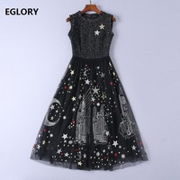 2018 Fashion Evening Party Vintage Dress Women Star Sequined Mesh Patchwork Big Swing Sexy Dress Ladies High Qaulity Wool Dress