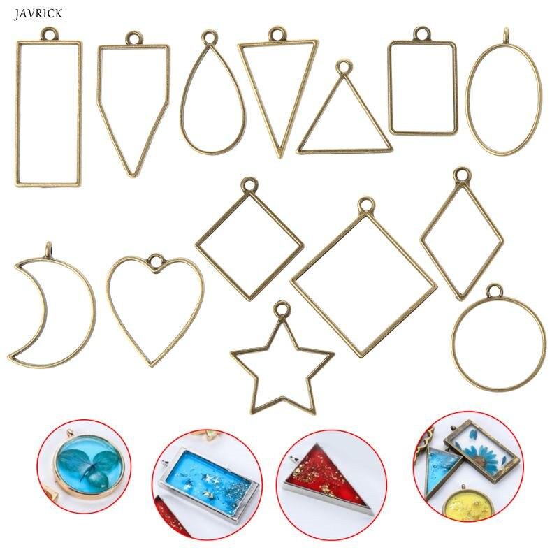 14Pcs Geometric Shape Metal Frame Set DIY Epoxy Resin UV Crystal Silicone Molds Jewelry Pendant Making