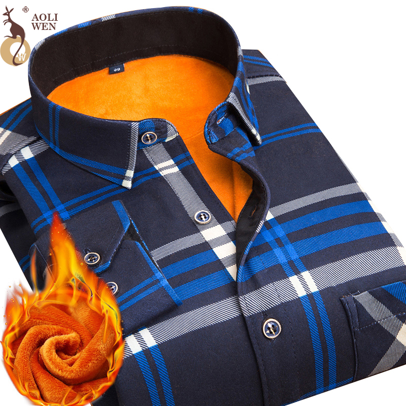 Aoliwen 2019 Fashion Men's Slim Shirts Autumn And Winter Thickening Warm Plaid 24 Colors Male Social Shirt Clothing Size M-5Xl(China)