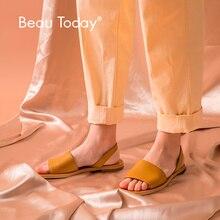 夏のサンダルの女性本物の牛革女性剣闘士をスリングフラットヒール靴手作り BeauToday 32032
