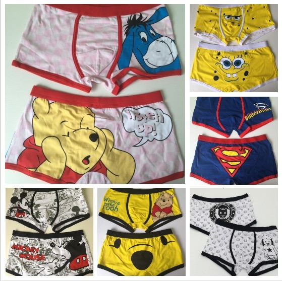 Free shipping 3 pcs/lot High quality 100% cotton cartoon men's Boxer / men underwear (Mix 24 Styles) Lovely&Sexy