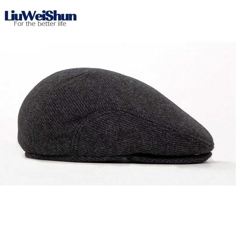 d2947ed81086b ... Winter Wool Male Beret Cap Hats With Earflap For Men,Vintage Newsboy  Tweed Flat Cap ...