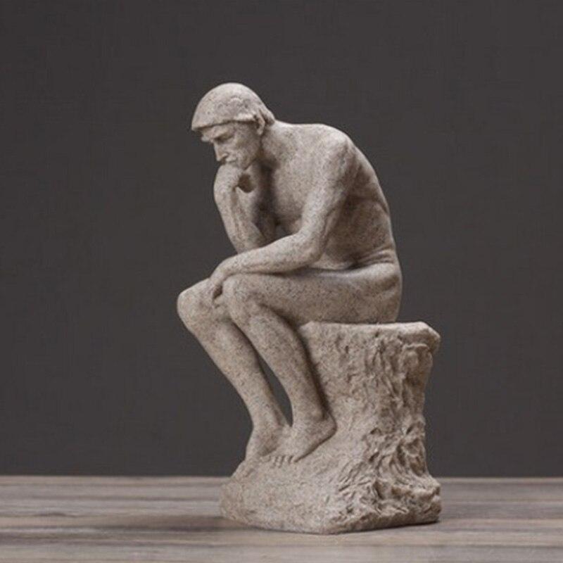 Rodin le penseur Statue mâle nue Figure Sculpture décoration de la maison accessoires bureau décoratif ornement décoration