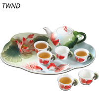 Enamel teapot cups tea tray set kung fu kettle mugs gaiwan bone china creative drinkware