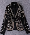 ASP002 women heavy diamond button slim black long sleeved jackets/fashion beads Suit jackets/3size