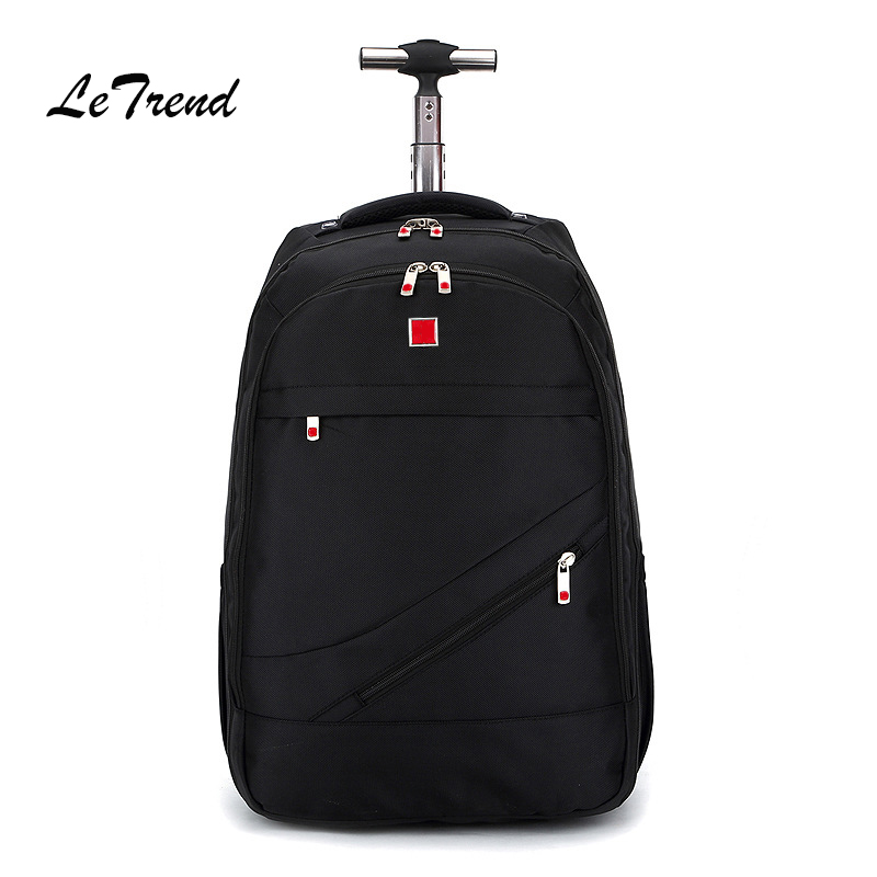 Letrend New Fashion Business Oxford Travel Bag Men Large Capacity Backpack Women Rolling Luggage Trolley Bag