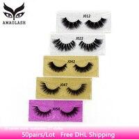 AMAOLASH 50 Pairs False Eyelashes 3D Mink Lashes Extension Makeup Mink Eyelash Natural Long Lasting Volume Eye Lashes Free DHL