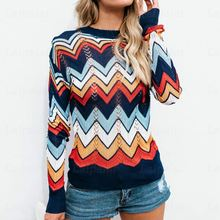 Laipelar Striped Rainbow Sweater Women Fashion Casual Autumn Sweaters Pullovers Loose Long Sleeve Knitted Pullover Femme Jumpers