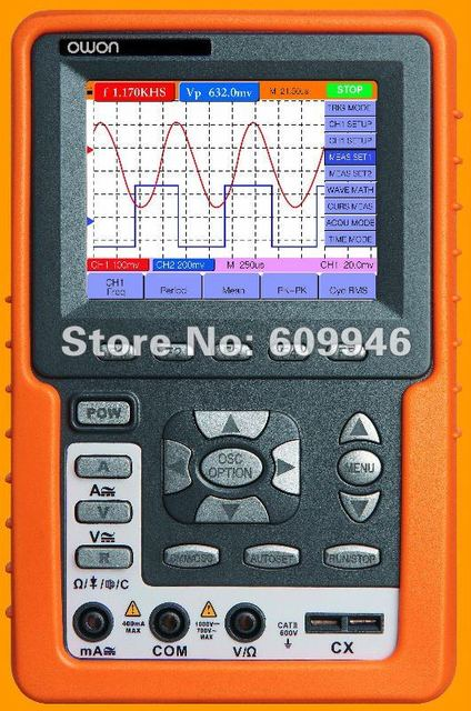 OWON Dual Channel oscillometer/Digital Storage Handheld Oscilloscope/3.8 inch color TFT display/Bandwidth 20MHz----HDS1022M
