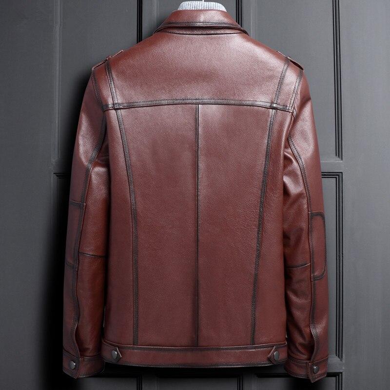 Manteaux Veste Chaqueta Moto Red Taille En Ayunsue Hombre Brown D'hiver My1135 Vache Plus Cuir Hommes Vêtements Véritable Courte Automne YWH2EeID9b