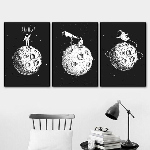 أسود أبيض رائد الفضاء القمر الرسم على لوحات القماش الجدارية الشمال الملصقات و يطبع الكرتون جدار صور للأطفال غرفة الحضانة ديكور