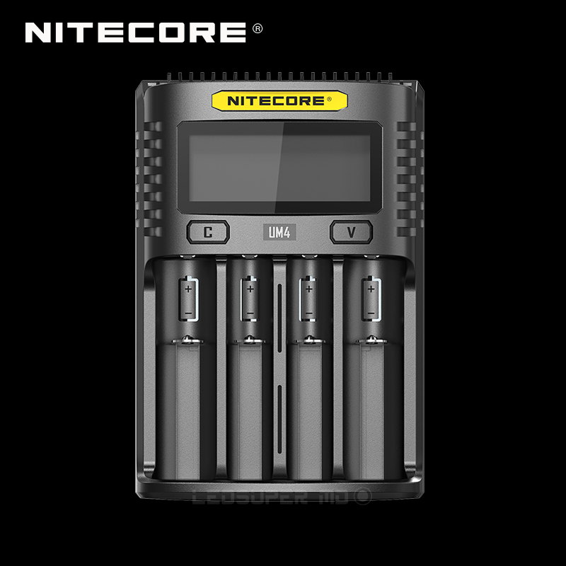 Intelligent Nitecore UM4 Four Slot USB Charger Compatible with Battery IMR Li ion LiFePO4 Ni MH