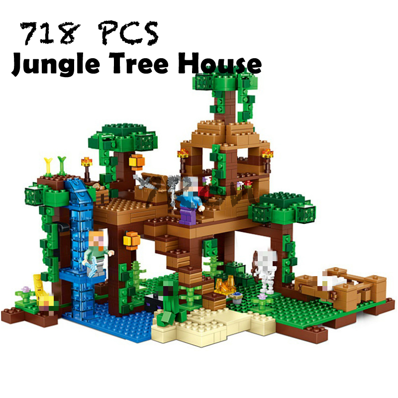 Compatible with lego 21125 Models building toy 10471 718pcs My World Jungle Tree House Building Blocks toy & hobbies lepin 18003 my world series the jungle tree house model building blocks set compatible original 21125 mini toys for children