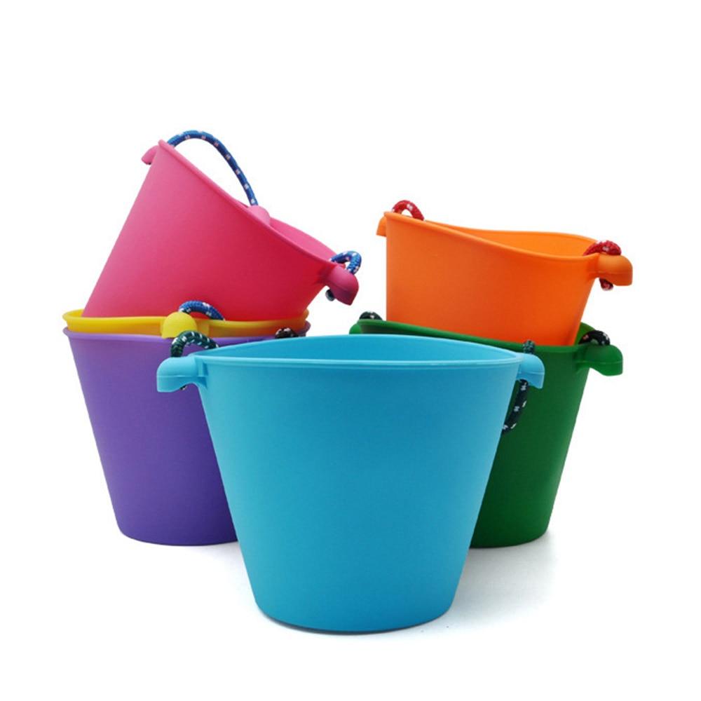 6 Colors Children Bath Toys Beach Bucket Silicone Folding Hand Bucket Children Baby Beach Sand Play Water Pour Toy Color Bucket