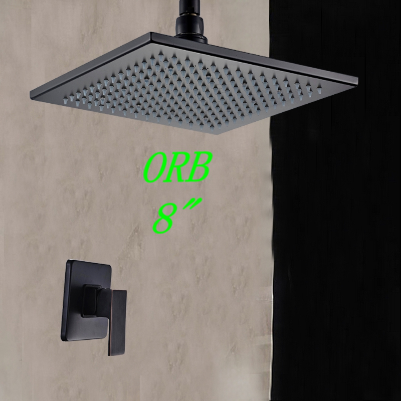 Contemporary 8 Oil Rubbed Bronze Celling Mounted Shower Head W/ Hand Shower Sprayer