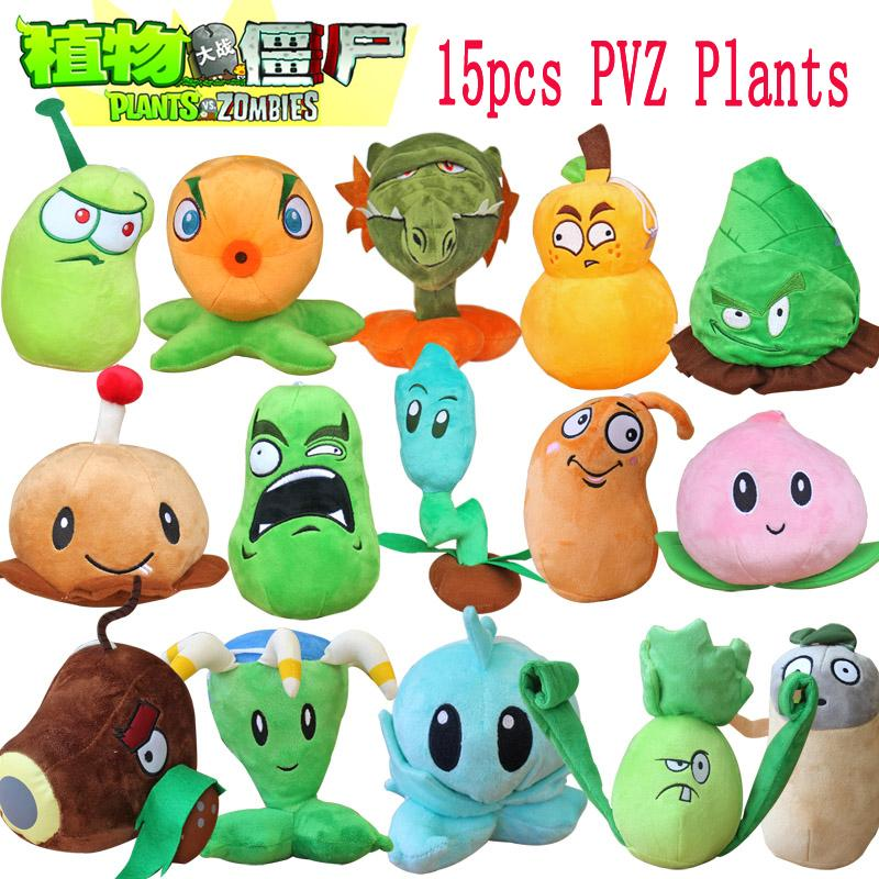 все цены на 1pcs Plants Vs Zombies 2 Stuffed Plush Toys Doll PVZ 15-20cm Plants Soft Plush Toy for Kids Party Toys 15 Styles to Optional