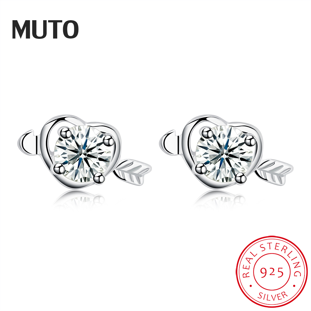 MUTO Arrows with Heart Style 925 Sterling Silver Stud earrings for Women Engagement Gifts SVED4139 Certificate NO.: 10170519783