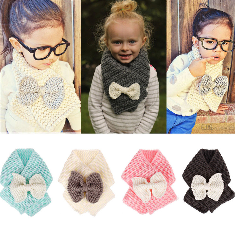 2018 Fashion New Brand Baby Winter Wrap Bowknot Scarf For Children Scarves Knitted Warm Scarf For Girls Wool Collar Baby Scarves