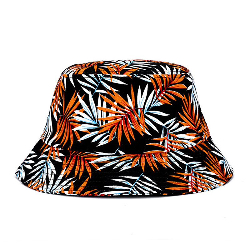 Fashion Cotton Striped Folding Portable Flat Sun Leaf Pattern Fisherman  Sunscreen Cap Spring Autumn Bucket Hat 4e5169c6665b