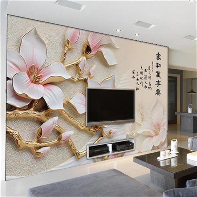 Schon 3d Wallpaper Benutzerdefinierte Foto Tapete Wandbild Farbe Relief Pflaume  3d Malerei Wohnzimmer Sofa TV Hintergrund Wand