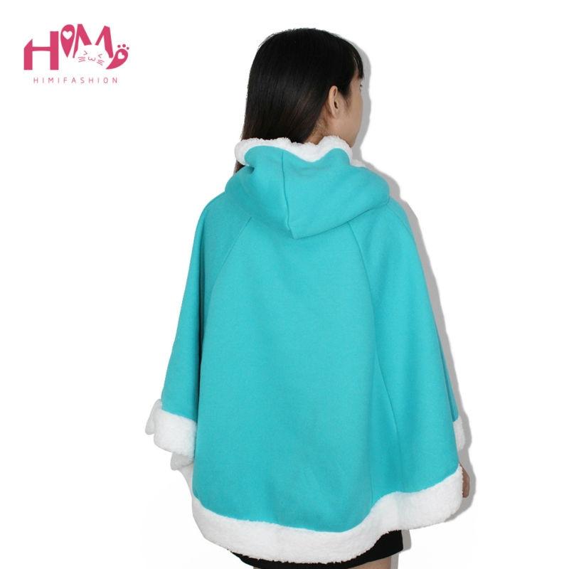 Christmas Hooded Cloak Winter cape Women Pink Unlined Upper Garment Sets Fleece Lovely Japanese Coat Blue  5