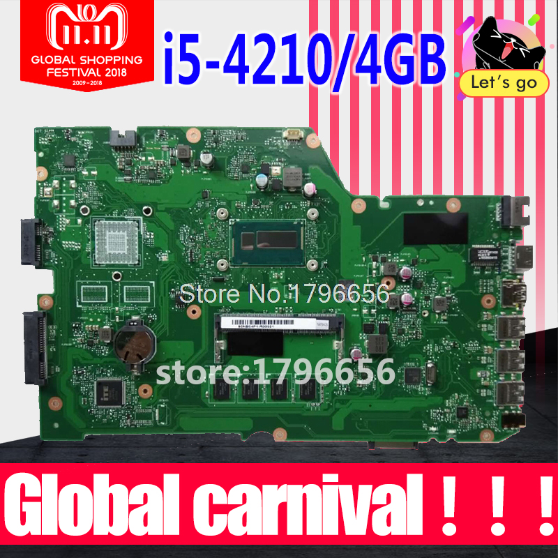 I5-4210 4GB X751LA motherboard REV:2.0 For ASUS X751L X751LD X751LX X751LK X751LA K751L laptop motherboard X751LD mainboard original x751ld rev 2 0 for asus x751ln x751lj k751l laptop motherboard ddr3 with i7 4710 cpu 4gb ram mainboard 100% tested