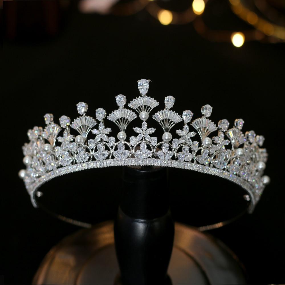 Unico abanico forma zirconia corona nupcial premios corona cena vestido accesorios damas regalo de vacaciones-in Joyería para el cabello from Joyería y accesorios    1