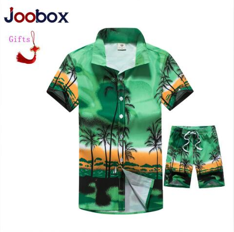 Sodis Summer Fashion Floral Print Hawaiian Shirts Men + Beach Shorts Men Short Sleeve Causal Shirts Men Clothing Sets Tracksuit