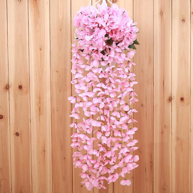 Promo artificial silk orchid flower garland vine leaf wall hanging artificial silk orchid flower garland vine leaf wall hanging basket flower wedding party home decor best mightylinksfo