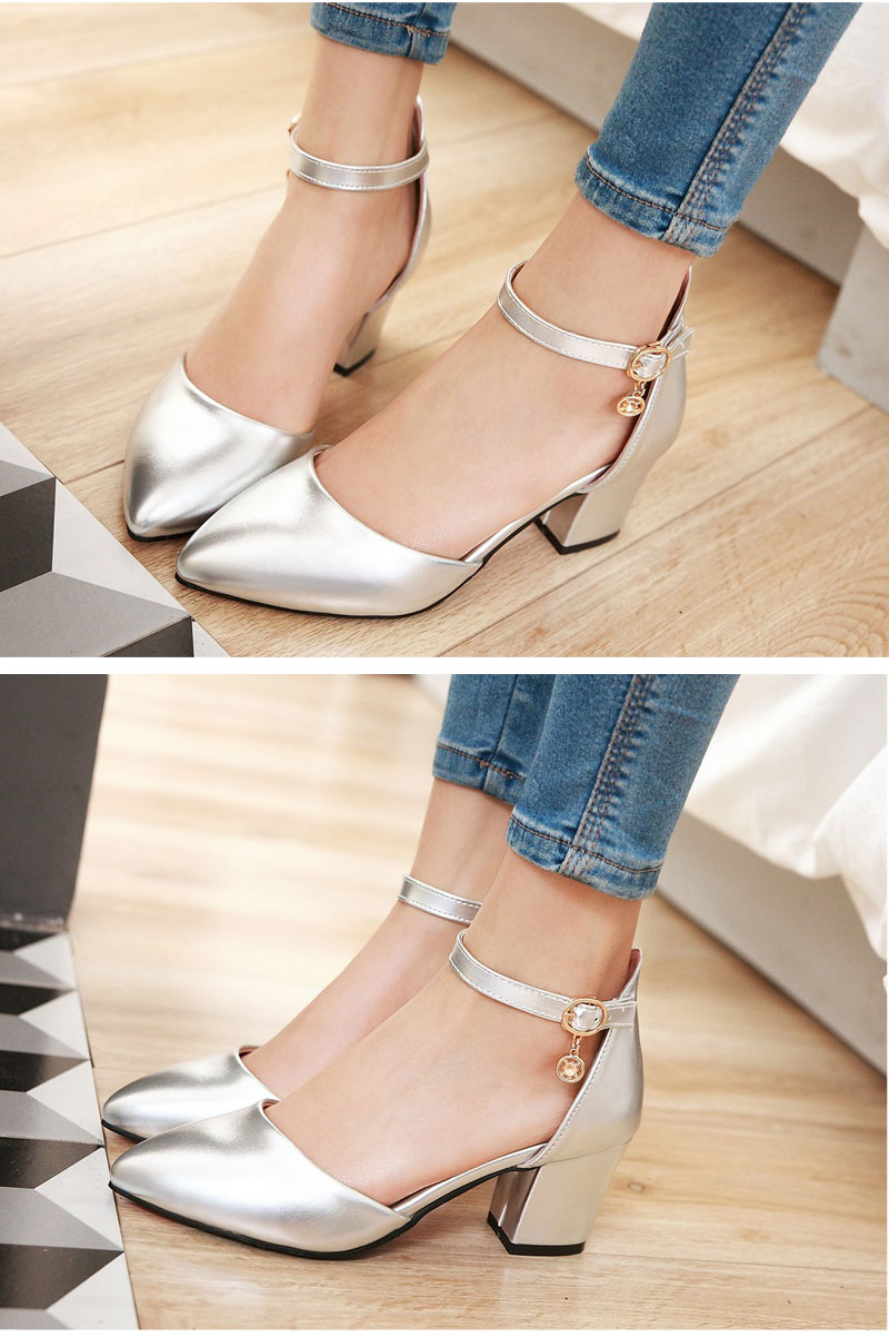 Meotina Shoes Woman 2017 New High Heels Spring Ladies Pumps Summer Two Piece Thick Heels Footwear Ankle Strap Shoes Sliver 34-43 5