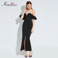 Kinikiss Women Elegant Sexy Dress Strapless Bra Ruffled Night Party Dresses Black Split Sexy Clue Long