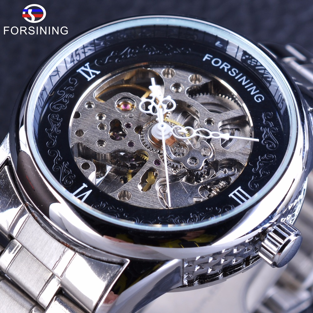 Forsining Silver Stainless Steel Flower Hands Design Unique Obscure Case Mens Automatic Skeleton Wrist Watches Top Brand Luxury
