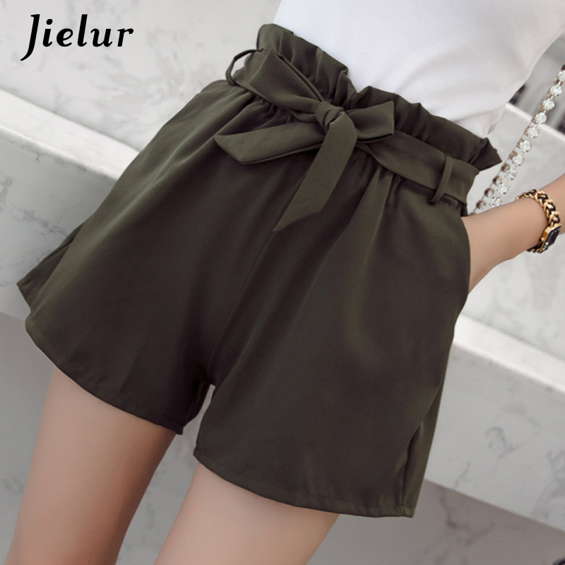 Jielur Sweet-Shorts Pantalones Streetwear Elastic Candy Lace-Up Casual Korean Summer